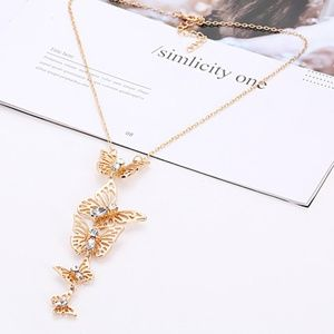 Long Butterfly Gold Necklace